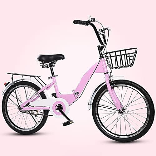ASPZQ Freno DE DUCA DE Dual DE LA Bicicleta del Estudiante Cómodo Móvil Cómodo Portátil Portátil Ligero para Hombres Mujeres - Estudiantes Y Viajeros Urbanos,Rosado,20 Inches