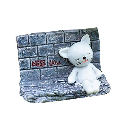 Outflower miniature Miss You Cat sous le mur Fée Décorations de jardin Mini pot Décor Paysage Fish Tank Résine Accessoires DIY Home Décor de jardin, Résine, gris, 6,2*4,4CM