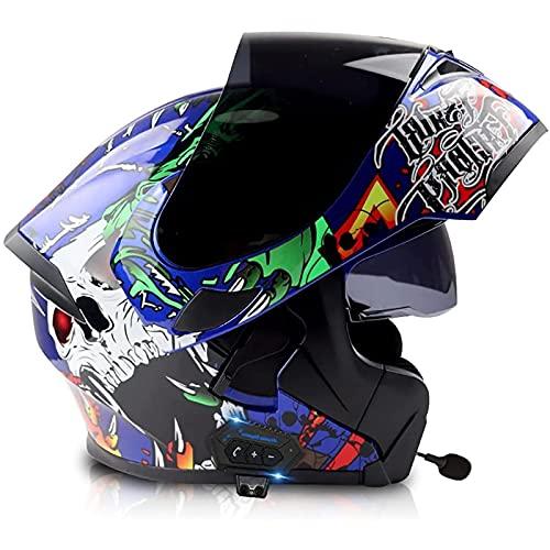 Bluetooth Integrado Casco de Moto Modular para Adultos Hombres Mujeres,ECE Homologado Cascos de Motocicleta con Doble Visera A Prueba de Viento G,L=59~60CM