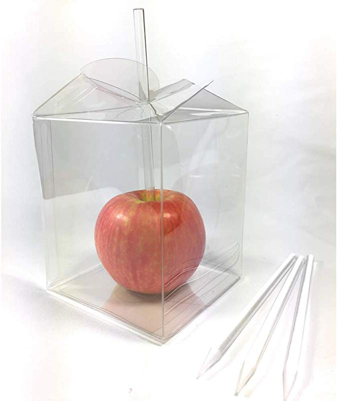 Weststone Candy Apple Packing Sets 20pcs 6 X7 32 6mm Clear Pointed Sticks And 20pcs 3 1 2 X3 1 2 X4 Candy Apple Box With Twist Top