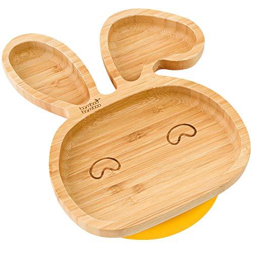 Hase Baby Saugnapf-Teller, Standfeste Saug-Fütter-Teller, aus naturbelassenem Bambus