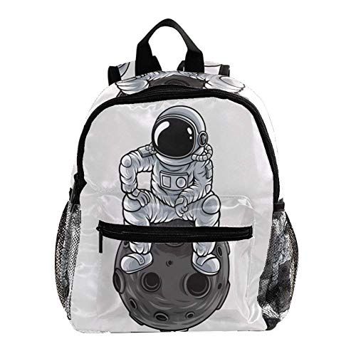 Mochila Escolar Astronauta Estrella De Dibujos Animados Mochila para Niños 3-8 Años Infantil Guarderia Backpack 25.4x10x30 CM