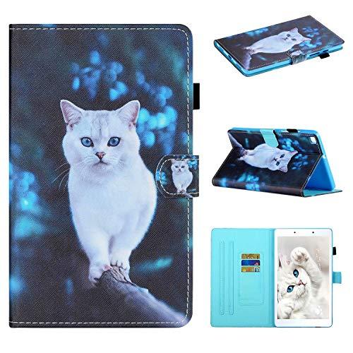 Miagon für Samsung Galaxy Tab A 8.0 Zoll SM-T290 2019 Hülle,Schlank Fit PU Leder Folio Stand Brieftasche Cover Cute Muster Stoßfest Shell,Weiß Katze