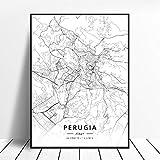 NOVELOVE Perugia City Italy Map Impresiones HD de pósters Pared del Arte Fotos Lienzo de Pintura Bar Mural Decoración para el hogar sin Marco 50 * 70cm