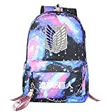 ZZGOO-LL Attack On Titan Eren Jaeger with Chain USB Mochila Backpack Casual Impermeable Viaje de Negocios con Unisex Starry Sky-B