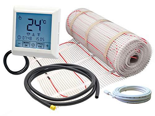Komplett-Set elektrische Fußbodenheizung für Fliesen EB-160 W/m² - mit Thermostat RT-40 Touchscreen (1 m² - 0,5 x 2 m)