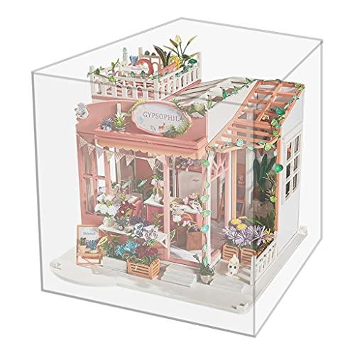 Hellery Puppenhaus DIY Miniatur Blumenladen Set Holz Puppenhäuser Miniatur Puppenhaus Geschenke für Jungen Mädchen - mit Covermusik