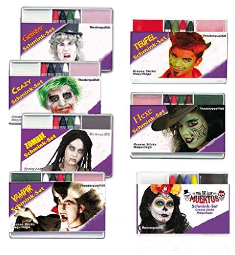 KarnevalsTeufel Schminkset in Theaterqualität Make-Up Gesichtsschminke Verschiedene Ausführungen...