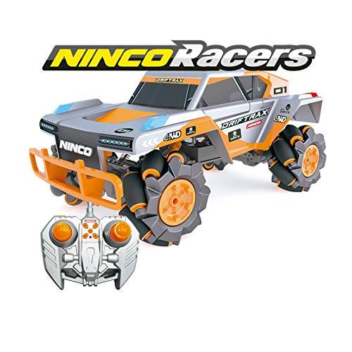 Ninco-NH93158 NincoRacers-Driftrax. Coche Teledirigido Todoterreno Omnidireccional. 2,4Ghz Color: Gris y Naranja. Medidas: 34 cm x 18,1 cm x 22.5 cm, Multicolor, (NH93158)