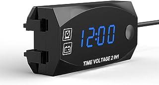 Sangmei Multifuncional 6V-30V 2 em 1 voltímetro para relógio de ponto de veículo elétrico de motocicleta com display digit...