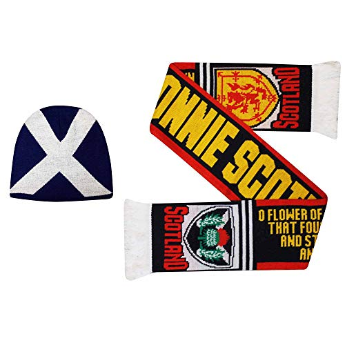 Bonnie Scotland sjaal & muts cadeau set voor rugby & voetbal fans