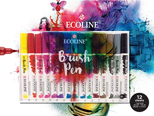 Ecoline Brush- und Papier-Set, 15er Stifte-Etui + Zeichenblock 24x32cm, 290g/m², SPARPACK