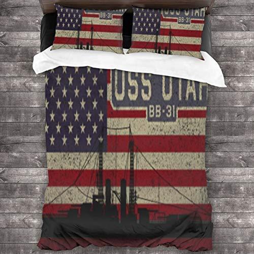 Yearinspace USS Utah Bb-31 Battleship Vintage USA Bandera Juego de colcha de 3 piezas Juego de ropa de cama de 86 x 70 pulgadas