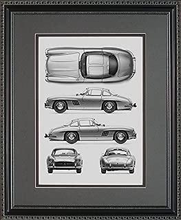 Mercedes Benz 300 SL Blueprint Framed Art Gift, 11x14
