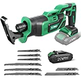 Reciprocating Saw, KIMO 20V Brushless Cordless Reciprocating Saw w/ 2.0Ah Battery & 1-Hour Fast Charger, 8 Saw Blades, Cordless Saw for Wood & Metal Cutting, Demolition, Tree Pruning Trimming