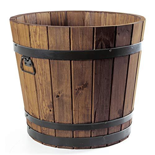 HolzFee Pflanzkübel Rustikal Holz Kiefer Pflanztopf (60 Liter/Ø 50 cm)
