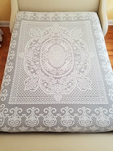 AdonisUSA White or Light Ivory Lace Bedspread, Size 84.6'x 94.4' for a Full/Queen Size Bed (Cream)
