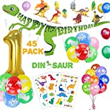 ASTER 1st Dinosaur Birthday Party Decorations for Kids - 3D Gold Happy Birthday