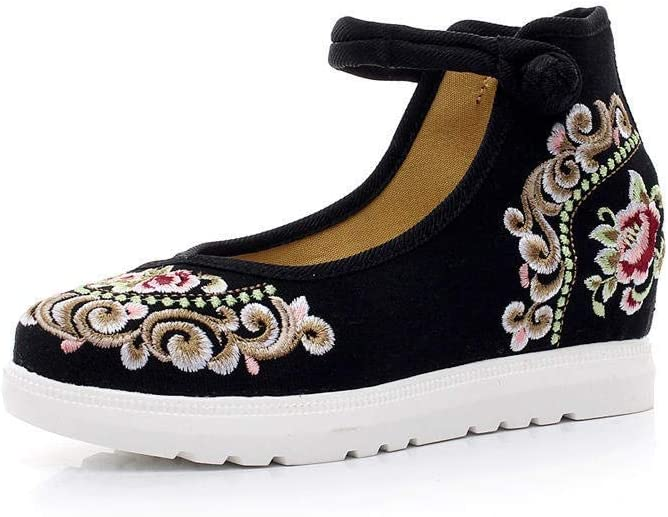 Finally resale start FHSMRING High Finish Floral Embroidered Platfo Canvas Women Flat Los Angeles Mall