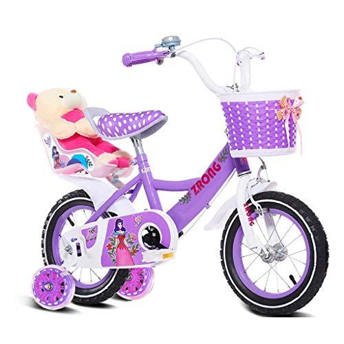GOG Kinder 's Fahrräder 6-9-Jährige Mädchen Fahrrad 18-Zoll-Kinderfahrrad Kinderwagen Aus Kohlenstoffstahl, Pink/Lila/Blau (Farbe: Lila)