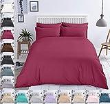 Bettwäsche Baumwolle Renforce Reißverschluss Größe Design 2-3 teilig Wählbar, Farbe Bettwäsche:Weinrot, Größe:155 x 220 cm