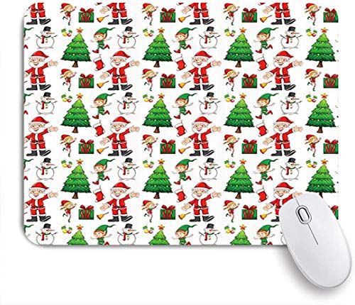 CIKYOWAY Mouse Pad,Merry Christmas Santa Claus Snowman Elf and Xmas Tree Gift for Winter Holiday Fantastic New Year,Mousepad Non-Slip Rubber Gaming Mouse Pad Rectangle Mouse Pads for Computers Laptop