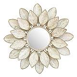 HOBIRD Espejo Decorativo de Pared de Metal con Flor de Loto, Espejo de Pared Redondo de pétalos Blancos en Capas 3D, tamaño de Marco 30.7', Perfecto para Regalo de inauguración