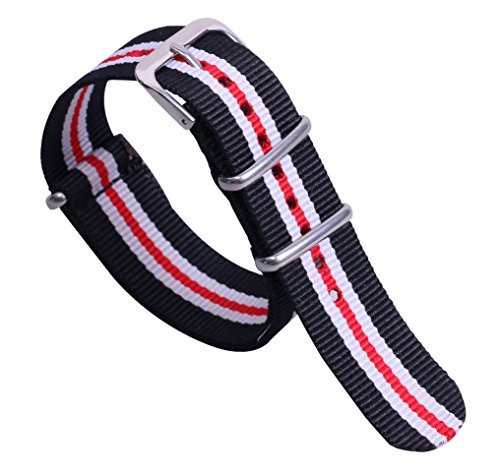 20 millimetri nero/bianco/rosso high-end di classe in stile robusto nylon elegante tela cinghia da polso banda orologio da uomo