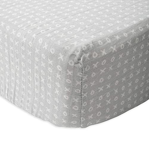"""Red Rover Kids All-Cotton Muslin Fitted Crib Sheet- 52""""x 28""""x 9""""- 100% Cotton – Machine Washable – Lightweight & Breathable – Playful Designs – Nursery, Crib, Bed – Unisex (Xoxo)"""