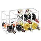 mDesign Juego de 2 botelleros metálicos – Estante para vino de diseño atractivo – Botellero de acero inoxidable con capacidad para 8 botellas de vino u otras bebidas – blanco mate