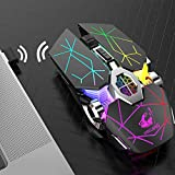 dgyl88 Gaming Mouse Home PC uetooth 5.0 Ricaricabile DPI Mute Regolabile 7 Colori Retroilluminato TV Ergonomico 6 Chiavi Regalo 2.4 GHz Wireless (Nero), Non null, Colorato, Taglia libera