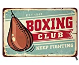 Swono Boxing Club Tin Signs,Boxing Speed Leather Ball Pear Shape Punching Bag Vintage Signboard Vintage Metal Tin Sign for Men Women,Wall Decor for Bars,Restaurants,Cafes Pubs,12x8 Inch