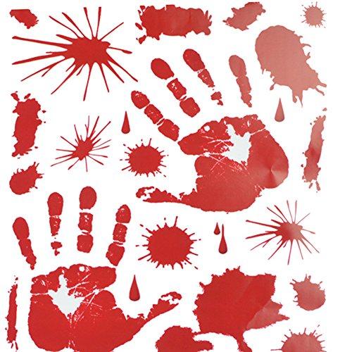 Wansan Blutige Handabdruck Aufkleber Halloween PVC Aufkleber Blut Splatter Abnehmbare Dekoration für Wand Fenster