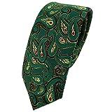 TigerTie - corbata estrecha - verde rojo oro negro Paisley modelada