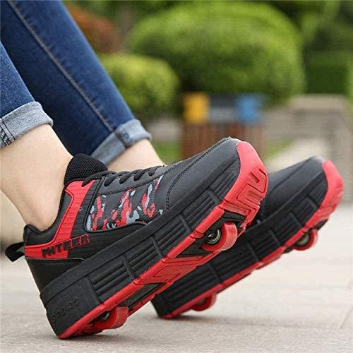 XPF Zapatos con Rodillos Zapatillas Niña Niño Patines En Línea Zapatos con Ruedas Zapatos De Skate Zapatos con Ruedas Calzado Deportivo para Adultos Y Niños,Red-33