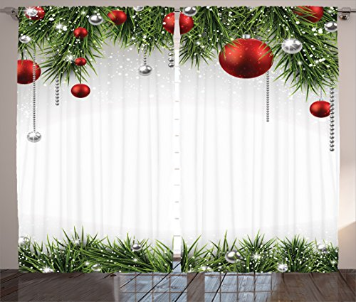 """Ambesonne Christmas Curtains, Classical Christmas Ornaments and Baubles Coniferous Pine Tree Twig Tinsel Print, Living Room Bedroom Window Drapes 2 Panel Set, 108"""" X 84"""", Vermilion Green"""
