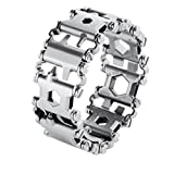 CMCL Stainless Bracelets,Tools With 29 Functions,Detachable Outdoor Bracelets Outdoor Survival Emergency (Black And Silver),Silver