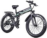 Bicicleta eléctrica, 1000 W, 48 V, plegable, con neumáticos de grasa de 26 x 4.0, bicicleta eléctrica ligera de 21 velocidades con pedal de asistencia hidráulica freno de disco, verde