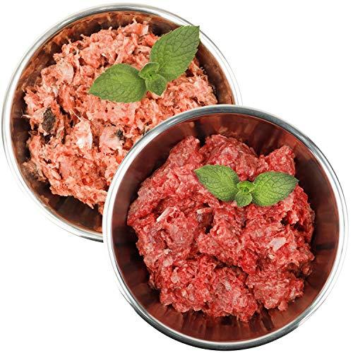 Barf-Snack biologisch artgerechtes Frostfleisch - Sparpaket mit Fisch & Kaninchen Gefrierfutter für Hunde & Katzen