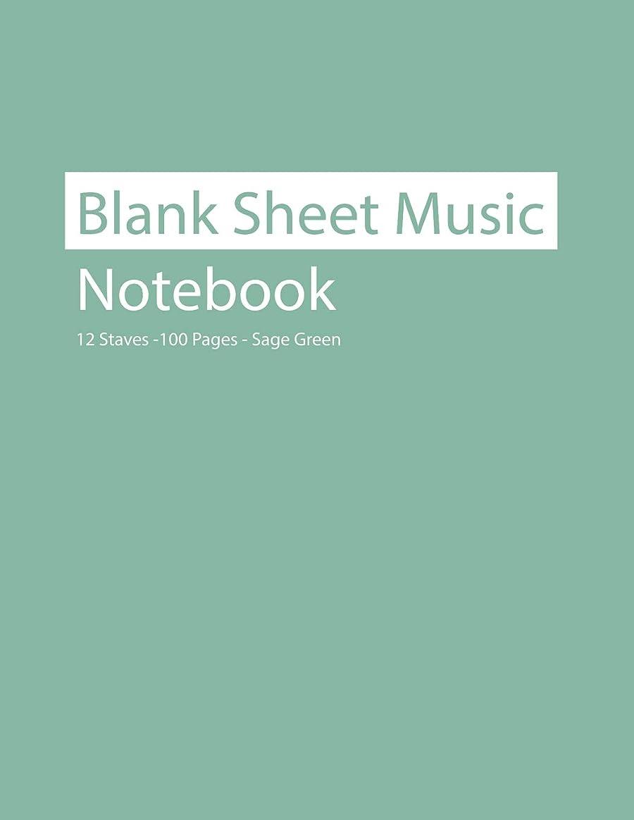 症状虚弱暫定Blank Sheet Music Notebook 12 Staves 100 Pages Sage Green