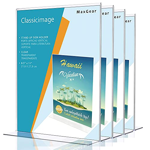 MaxGear Acrylic Sign Holder 8.5 x 11 - Acrylic T Shape Table Top Display Stand, Double Sided, Bottom Load, Portrait Style Menu Ad Frame. Perfect for Restaurants, Office, Photo Frames, Store