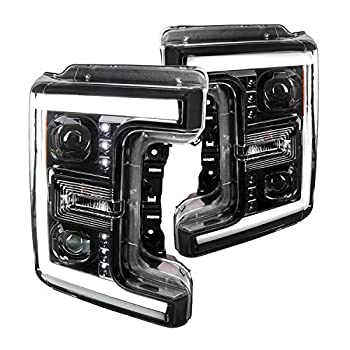 Spec-D Tuning Jet Black Housing Clear Lens LED Bar Projector Headlights for 2017-2019 F250 Left + Right Pair Head Light Assembly