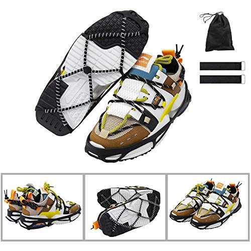 CAKKA Crampons Portable Walk Traction Ice Cleats  Non Slip Break Resistant Easy to Wear  Ice Spikes Gripper for Walking Hiking on Snow/ Ice Fits for Shoes Boots Etc L