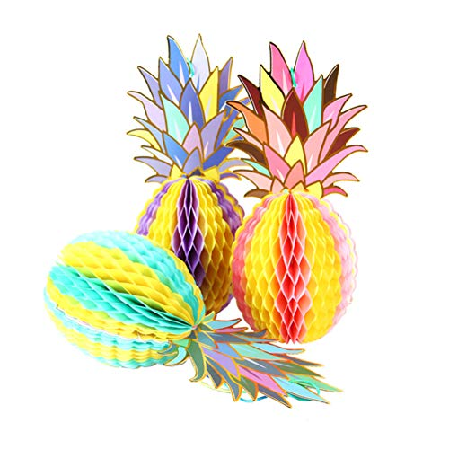 Ruiting Ananas Nid d'abeille en Papier Décoration de Fête Boule 3Pcs Nursery Enfants Chambre Tropical Party Décor Papier Pineapple Design en nid d'abeille