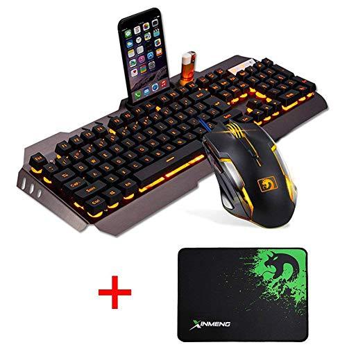 UrChoiceLtd 2017 Arancione Tecnico Giallo Retroilluminato A LED Tastiera Mouse Tastiera Di Gioco Con Supporto Per Telefono Usb E Leggero Set Di Frame + 2000DPI Di Gioco Pad Gaming Mouse (Grigio Oro)