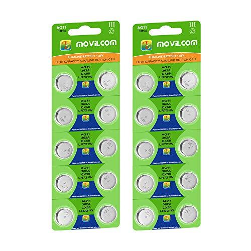 MovilCom® - 20 Knopfzellen AG11 Batterien 1,5 V bekannt als 362, 362, SR721SW V362, 362, D362, S721E, 601, S, 280-29, SB-AK/DK, SR58, AG11