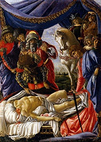 josiedf DIY Pintura Botticelli Pintura al óleo Virgen y el niño Estatua Cartel Bar Sala de Estar Pintura Decorativa