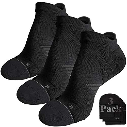 Hylaea Mens Sports Socks, Running Socks Women No Show No Blister, Made of Moisture Wicking Coolmax Breathable Material, ideal for Athletic, Workout, Walking, Golf, Black, Medium