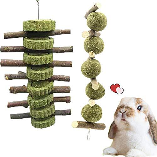 2 juguetes para masticar conejos, hámster de conejo, juguetes para masticar con palos de madera de manzana, pastel de hierba natural y bola de hierba,ratas masticando jugando juguete para
