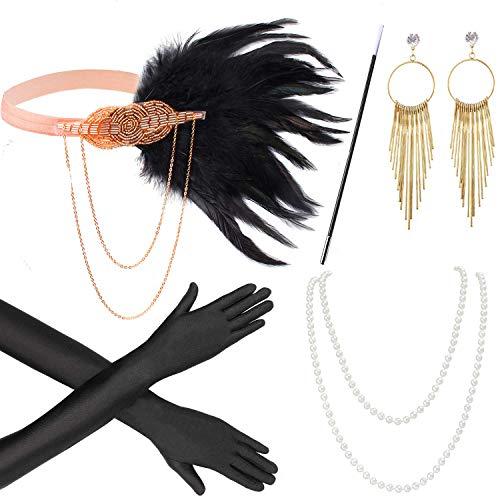 Beelittle 1920er Jahre Zubehör Set Flapper Stirnband, Halskette, Handschuhe, Zigarettenspitze Great Gatsby Zubehör für Frauen